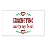 Crocheting Warms Hearts Sticker (Rectangle 10 pk)