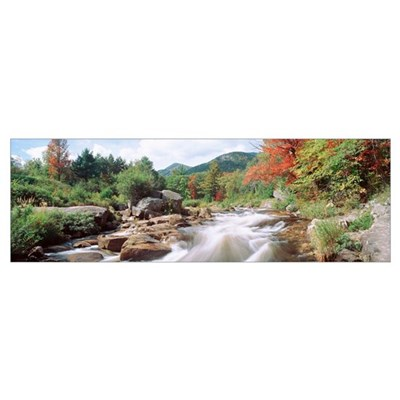 River flowing through rocks, Ausable River, Wilmin Framed Print