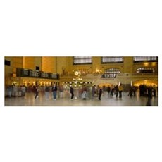 Group of people walking in a station, Grand Centra Poster
