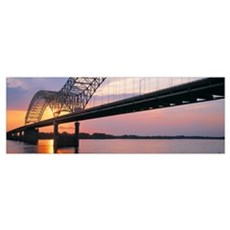 Sunset Hernandez DeSoto Bridge and Mississippi Riv Poster