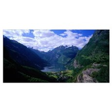 Cruise Ships in Geiranger Fjord Norway Poster