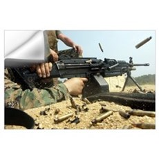 A Marine engages targets with an M249 Squad Automa Wall Decal