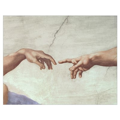 Hands of God and Adam, detail from The Creation of Poster