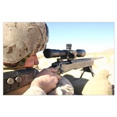 A soldier aims in with his M40A3 Scout Sniper Rifl Poster
