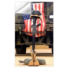 An M16A2 service rifle a pair of boots and a helme Wall Decal