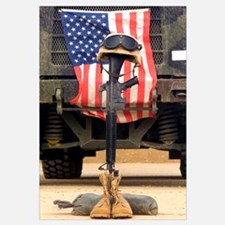 An M16A2 service rifle a pair of boots and a helme