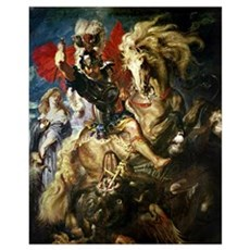 St. George and the Dragon, c.1606 (oil on canvas) Framed Print