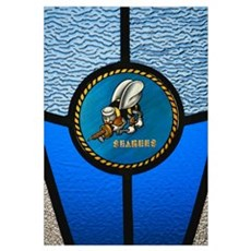 A single Seabee logo built into a stainedglass win Canvas Art