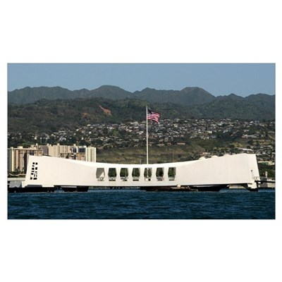 The Ensign flies over the Arizona Memorial Framed Print