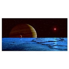 Jupiter and its moon Lo as seen from the frozen su Poster