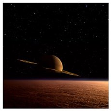 Saturn floats in the background above Titan Poster