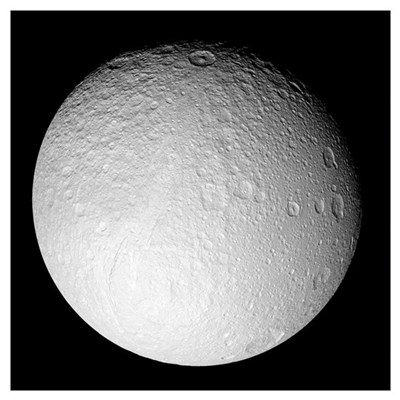 The South Pole of Saturns moon Tethys Poster