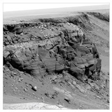 A cliff on the surface of Mars Framed Print