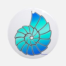 Aqua Nautilus Shell Ornament (Round)