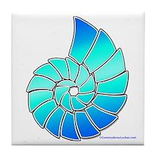 Aqua Nautilus Shell Tile Coaster