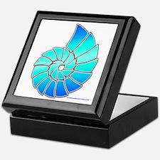 Aqua Nautilus Shell Keepsake Box