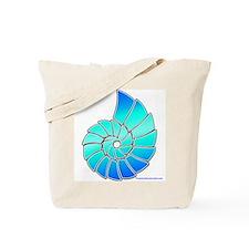 Aqua Nautilus Shell Tote Bag