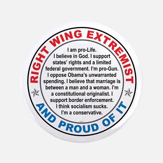 """Right Wing Extremist 3.5"""" Button"""