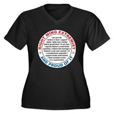 Right Wing Extremist Women's Plus Size V-Neck Dark