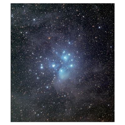 The Pleiades surrounded by dust and nebulosity Framed Print