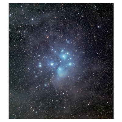 The Pleiades surrounded by dust and nebulosity Poster