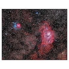 Lagoon Nebula and Trifid Nebula in Sagittarius Poster