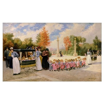 Promenade des Enfants (oil on canvas) Poster
