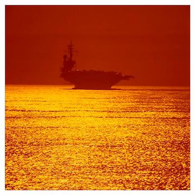 Aircraft carrier at sunset Poster