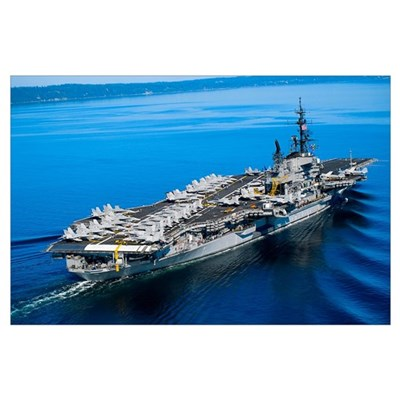 Aircraft carrier in calm water Poster