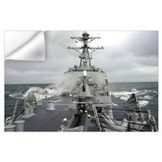 Sea spray whips across the deck of the USS Winston Wall Decal