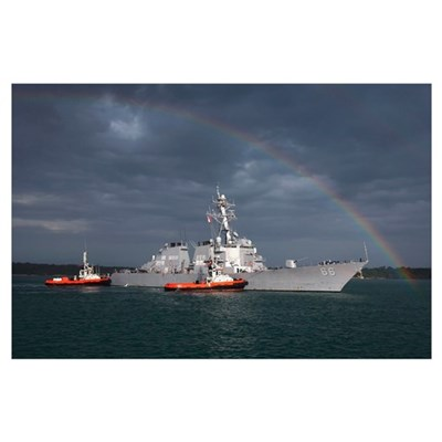 A rainbow arches over the guided missile destroyer Poster
