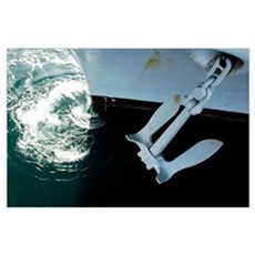 The port side Mark II Stockless Anchor is raised a Poster