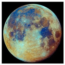 Colored moon geological differences Poster
