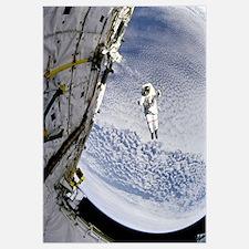 An astronaut participates in extravehicular activi
