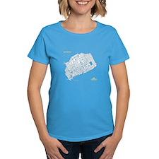 Detroit Women's T-Shirt White on Caribbean Blue