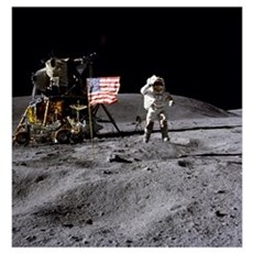 An astronaut stands next to the American flag duri Poster
