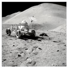 Astronaut works at the Lunar Roving Vehicle during Poster