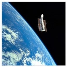 The Hubble Space Telescope with a blue earth in th Poster