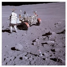 An astronaut and a lunar roving vehicle during an  Poster