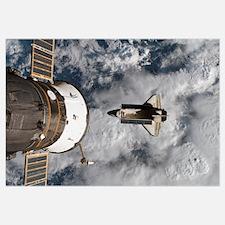 Space Shuttle Atlantis and the docked Soyuz spacec