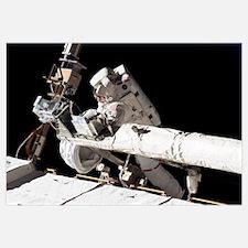 Astronaut participates in extravehicular activity