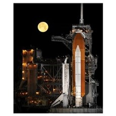 A nearly full Moon sets as Space Shuttle Discovery Poster