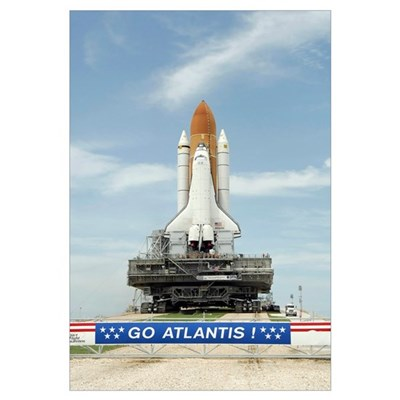 Space shuttle Atlantis approaches the top of Launc Framed Print