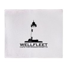 "Wellfleet MA ""Lighthouse"" Design. Throw Blanket"