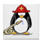 Fireman penguin Tile Coaster