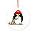 Fireman penguin Ornament (Round)