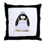 Debutant penguin Throw Pillow