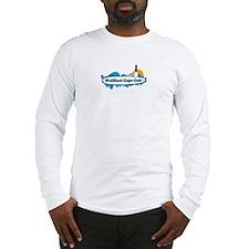 """Wellfleet MA """"Surf"""" Design. Long Sleeve T-Shirt"""
