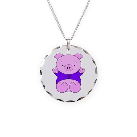 Cancer Cartoon Pig Necklace Circle Charm