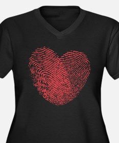 Finerprint Valentines Day Heart Women's Plus Size